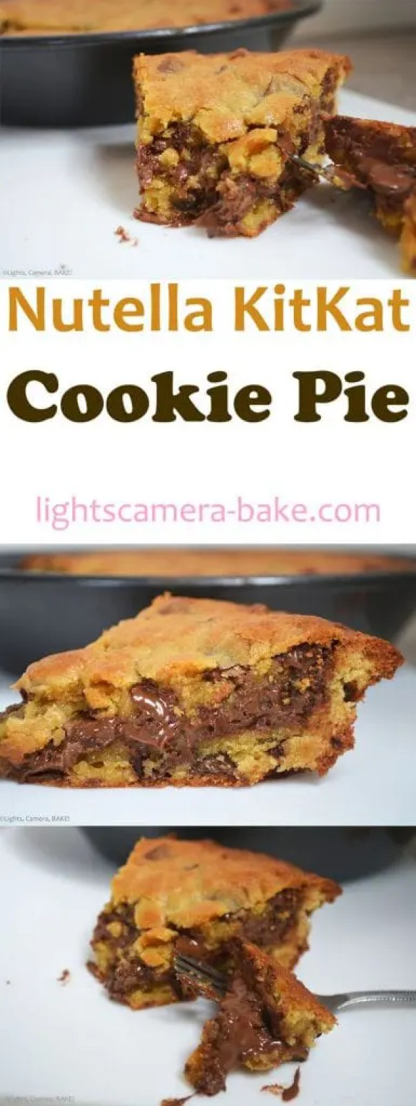 This Nutella KitKat Cookie Pie uses my favourite fuss free, fail safe, soft and chewy chocolate chip cookie pie base. I then added lightly crushed KitKats and smothered a generous layer of Nutella lovingly through the middle because.... Um hello?! Nutella!