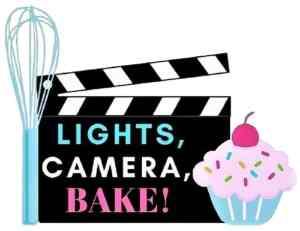 Logo for the food blog Lights, Camera, BAKE!