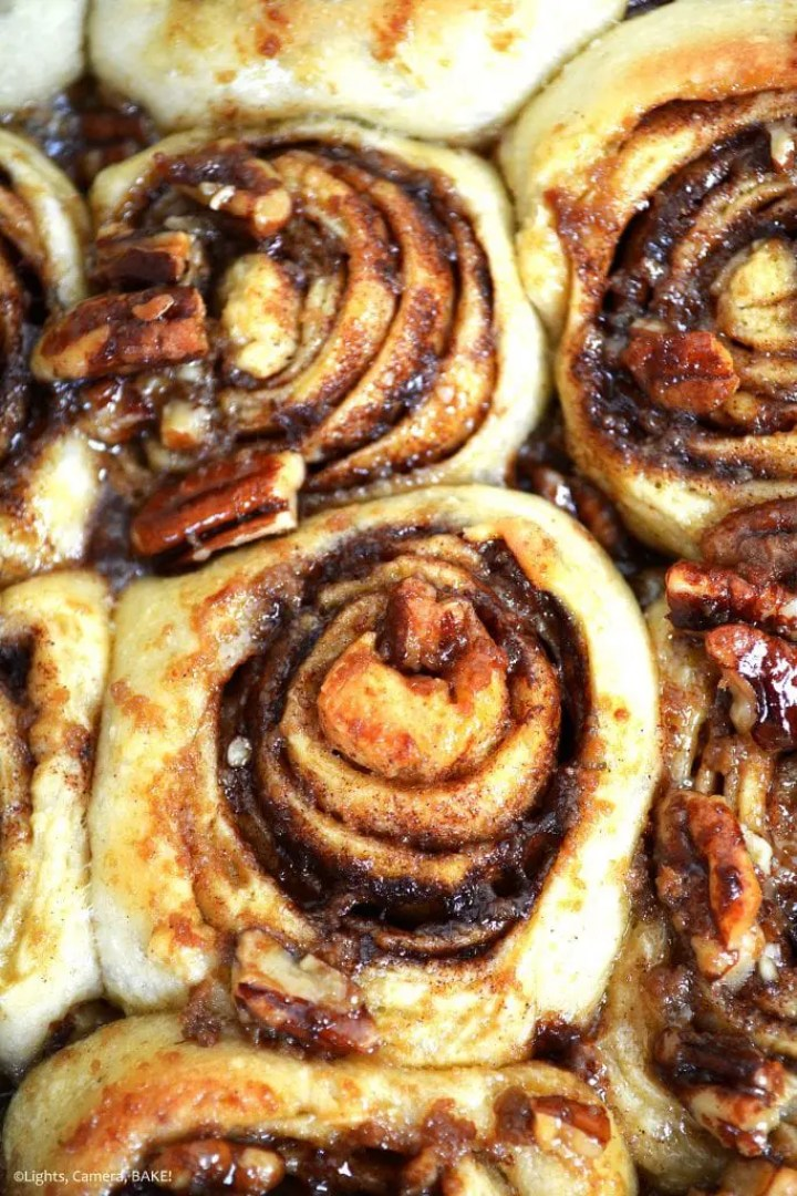 Maple Pecan Sticky Buns are soft and fluffy buns with a cinnamon and maple filling topped with a sticky candied maple pecans and more maple syrup! Honestly, this may just have topped my favourites list!