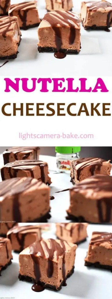 Nutella Cheesecake is a no bake creamy cheesecake filled with Nutella for the ultimate chocolate and hazelnut treat. Sitting atop an Oreo crust and drizzled with a chocolate ganache. No bake and gelatin free. #nutellacheesecake #nobakechocolatecheesecake