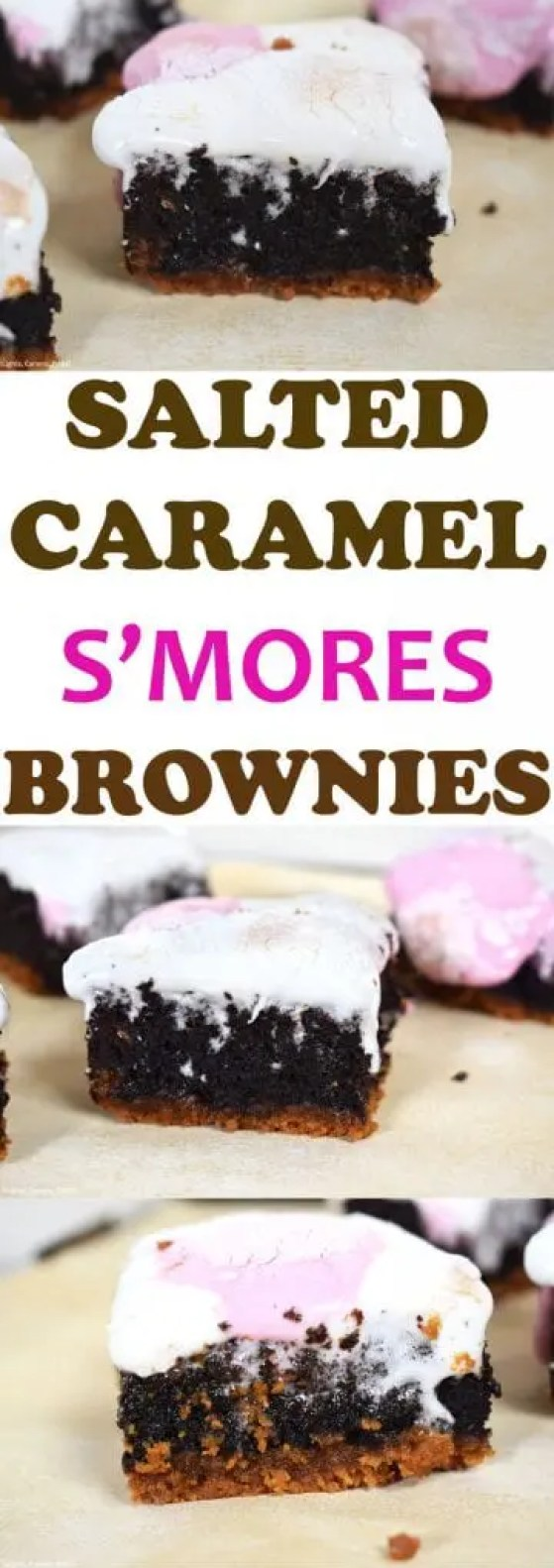Salted Caramel S'mores Brownies are a graham cracker base with a layer of homemade salted caramel sauce, covered in a rich and fudgy chocolate brownie and topped with roasted marshmallows. All  the elements of a great s'more just upgraded to a salted caramel brownie! #saltedcaramel #brownies