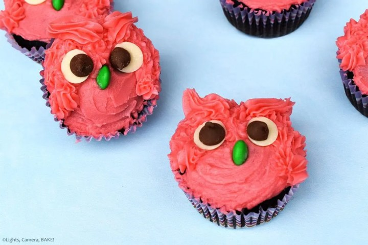 Owl Cupcakes are soft and fluffy chocolate cupcake decorated with a vanilla buttercream to look like gorgeous, googly eyed owls! Perfect for a birthday cake, party, get together or just for fun. #owlcupcakes #pinkowl