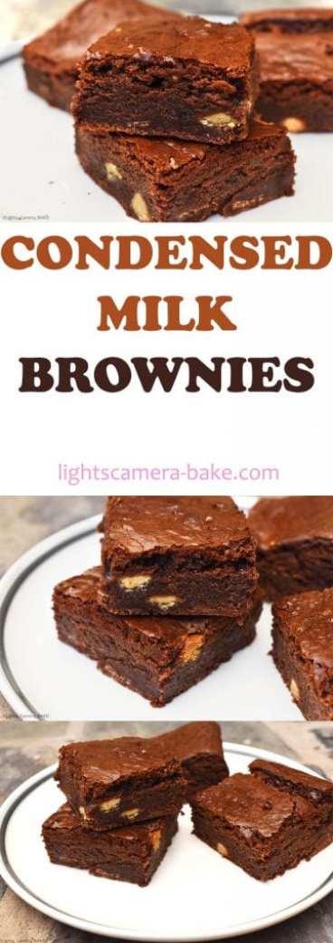 Condensed Milk Brownies. Super chewy, fudgy and dense chocolate brownies using condensed milk as the base. #condensedmilkdessert #condensedmilkbrownies #chewybrownies #fudgybrownies #condensedmilkfudge #qucikandeasyfudge