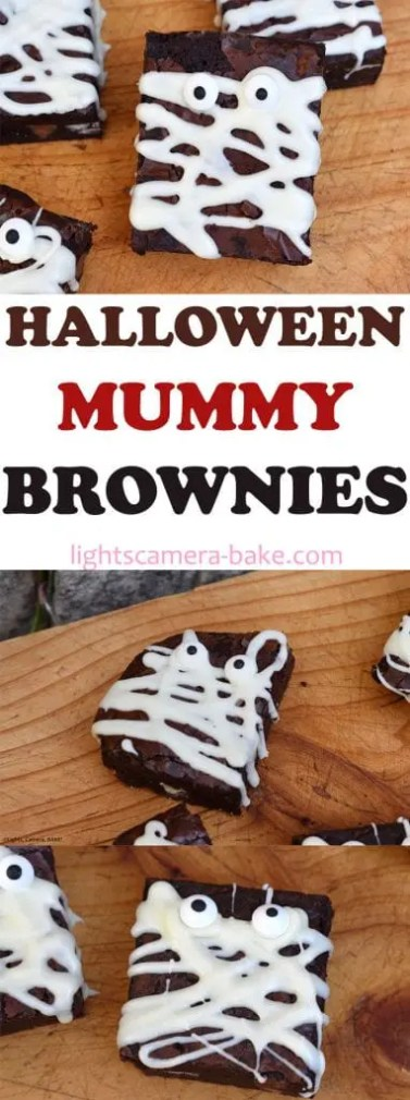 Halloween Mummy Brownies are super easy, rich and fudgy brownies covered in melted white chocolate and candy eyes for a fun and easy Halloween recipe. #halloween #halloweenbaking #halloweenbrownies #mummybrownies #fudgybrownies #halloweenmummybrownies
