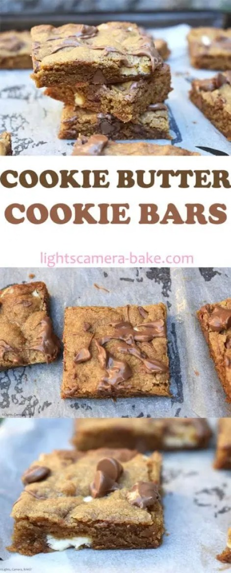 Cookie Butter Cookie Bars are gooey and chewy chocolate chip cookie bars with cookie butter as the base for these. Think spices and comforting tones. #cookiebutter #biscoff #biscoffcookiebars #cookiebars #gooeycookiebars #biscoffcookiebutter #cookiebuttercookies #cookiebuttercookiebars