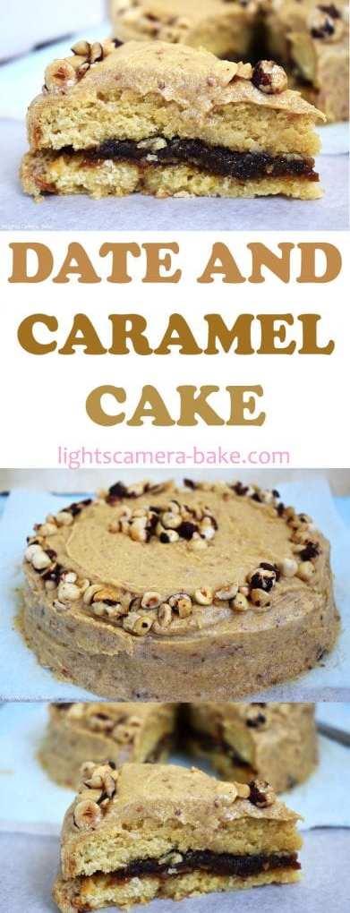 Date and Caramel Cake is a soft and fluffy caramel cake with a chewy caramel and date puree filling and a caramel and date frosting. Topped with caramelised hazelnuts. #caramelcake #datecake #stickydatepudding #datecaramel #datecaramelcake #candiedhazelnuts #hazelnutcake