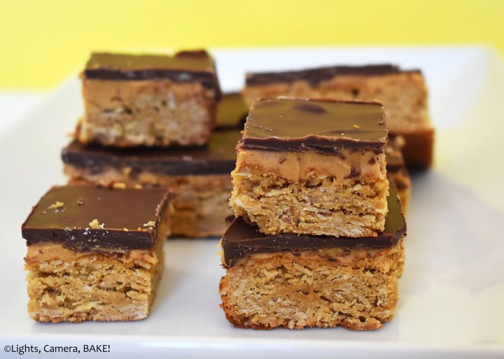Chocolate peanut butter oat bars.