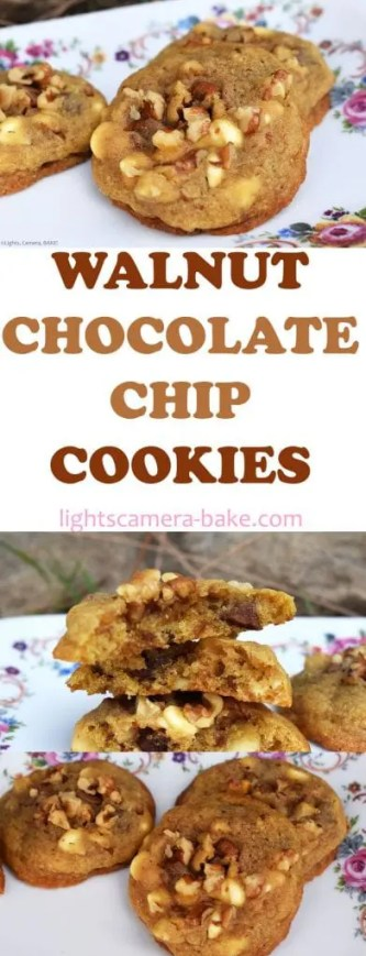 Walnut Chocolate Chip Cookies are soft, chewy and buttery chocolate chip cookies with the delightful crunch added from the walnuts. A classic and timeless recipe! #walnutcookies #chocolatechipcookies #classiccookies #walnutchocolatechipcookies