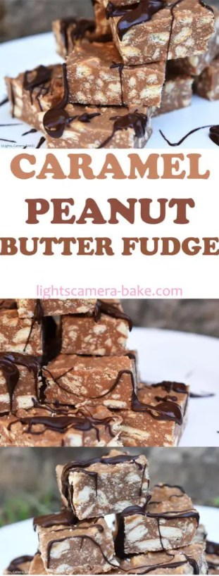 Caramel Peanut Butter Fudge is a soft and creamy caramel  and peanut butter fudge with crushed digestive biscuits (graham crackers) throughout for added crunch. #caramelfudge #peanutbutterfudge #caramelpeanutbutterfudge #fudgerecipe