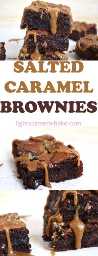 Indulgent and rich, dark chocolate Salted Caramel Brownies. These brownies are insanely decadent and more suited to adults. They very dark and rich, ultra fudgy and gooey and creates a balance between dark chocolate, sweet caramel and saltiness. #saltedcaramelbrownies #fudgybrownies #caramelbrownies #darkchocolatebrownies #saltedcarameldarkchocolatebrownies