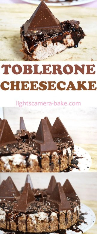Toblerone Cheesecake: A no bake, easy cheesecake recipe with a digestive biscuit (Graham Cracker) and Toblerone base and a vanilla cheesecake speckled with Toblerone pieces and topped with more Toblerones! #tobleronecheesecake #tobleronerecipe #cheesecakerecipe #nobakecheesecake