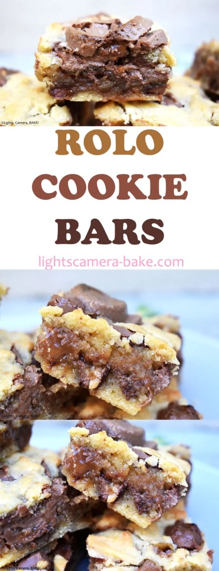 Rolo Cookie Bars are soft and and chewy cookie bars filled with chocolate chips, a caramel sauce and Rolos! #rolocookiebars #rolocookies #caramelcookies #caramelcookiebars