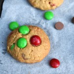 Christmas Monster Cookies are a twist on the classic chewy peanut butter, oat and M&M cookies using special Christmas M&Ms. #christmascookies #monstercookies #mandmcookies #christmas