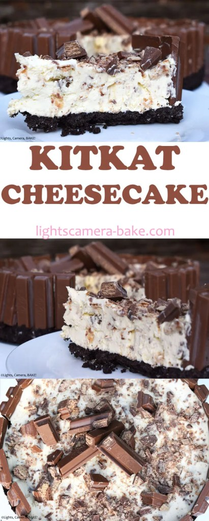 KitKat Cheesecake is a no bake cheesecake full of KitKat pieces, surrounded by KitKats and topped with KitKats. This cheesecake is KitKat heaven! #kitkatcheesecake #kitkatrecipe #nobakecheesecake