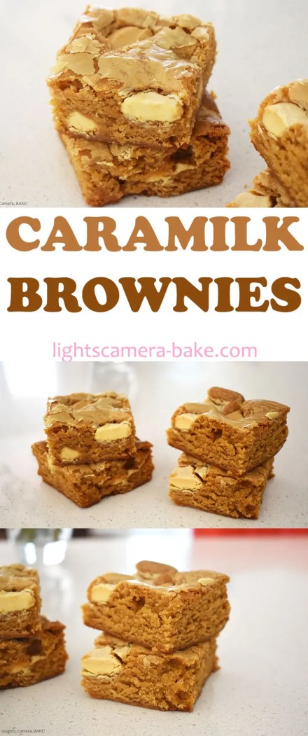 Long pinterest image with three images of Caramilk Brownies with a title.