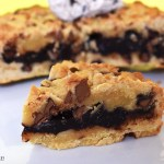 Slice of hot fudge cookie pie.