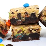 M&M Brookies is an M&M filled blondie on top of a fudgy, rich brownie! #m&mbrookies #brookies #m&mbrownies #m&mcookies