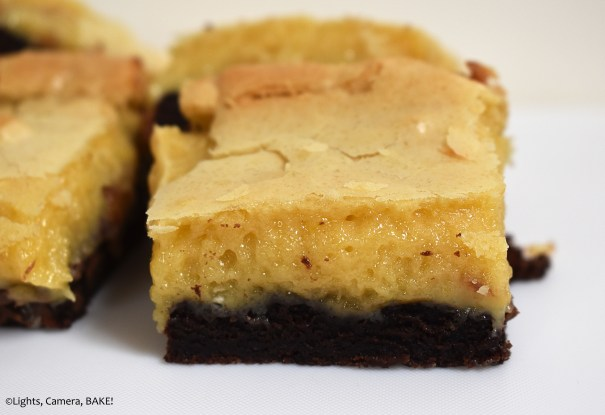 Close up of caramel brookies on white background.