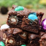 Easter egg filled chocolate cookie bars.