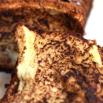 Close up of Nutella bread slice.