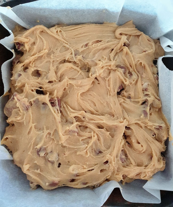 Kinder Bueno blondies in a baking pan.