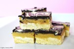 Caramel slice with chocolate top on a plate.