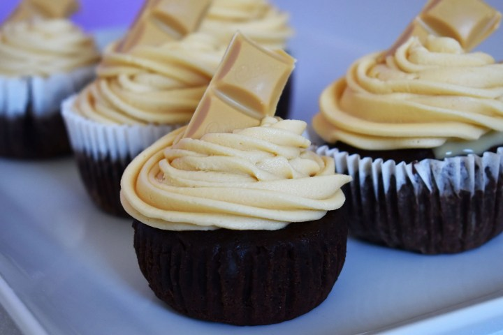 Chocolate cupcakes with caramilk buttercream.