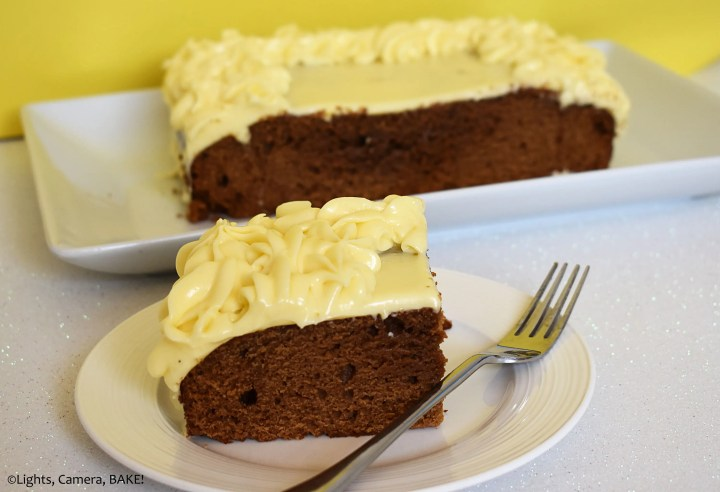 Gingerbread cake on a yellow background.