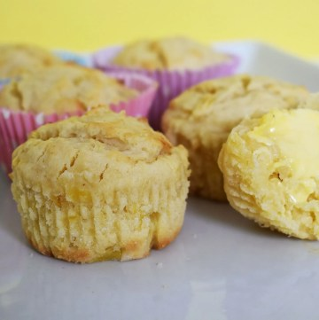 Pineapple muffins on a white plate.