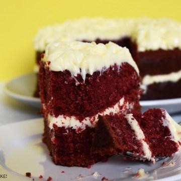 Red velvet cake on a plate.