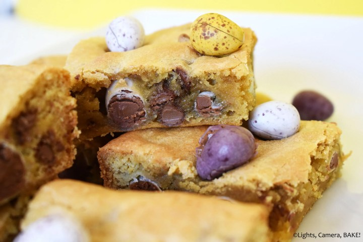 Stack of Easter egg cookie bars on a plate.