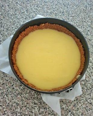 Lemon curd in a cake pan.