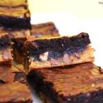 Caramilk brownie and chocolate brownie on a plate.