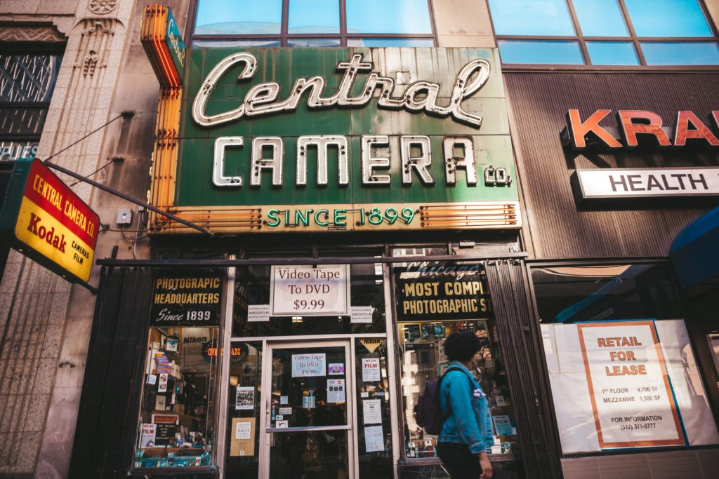 Exterior of old camera store