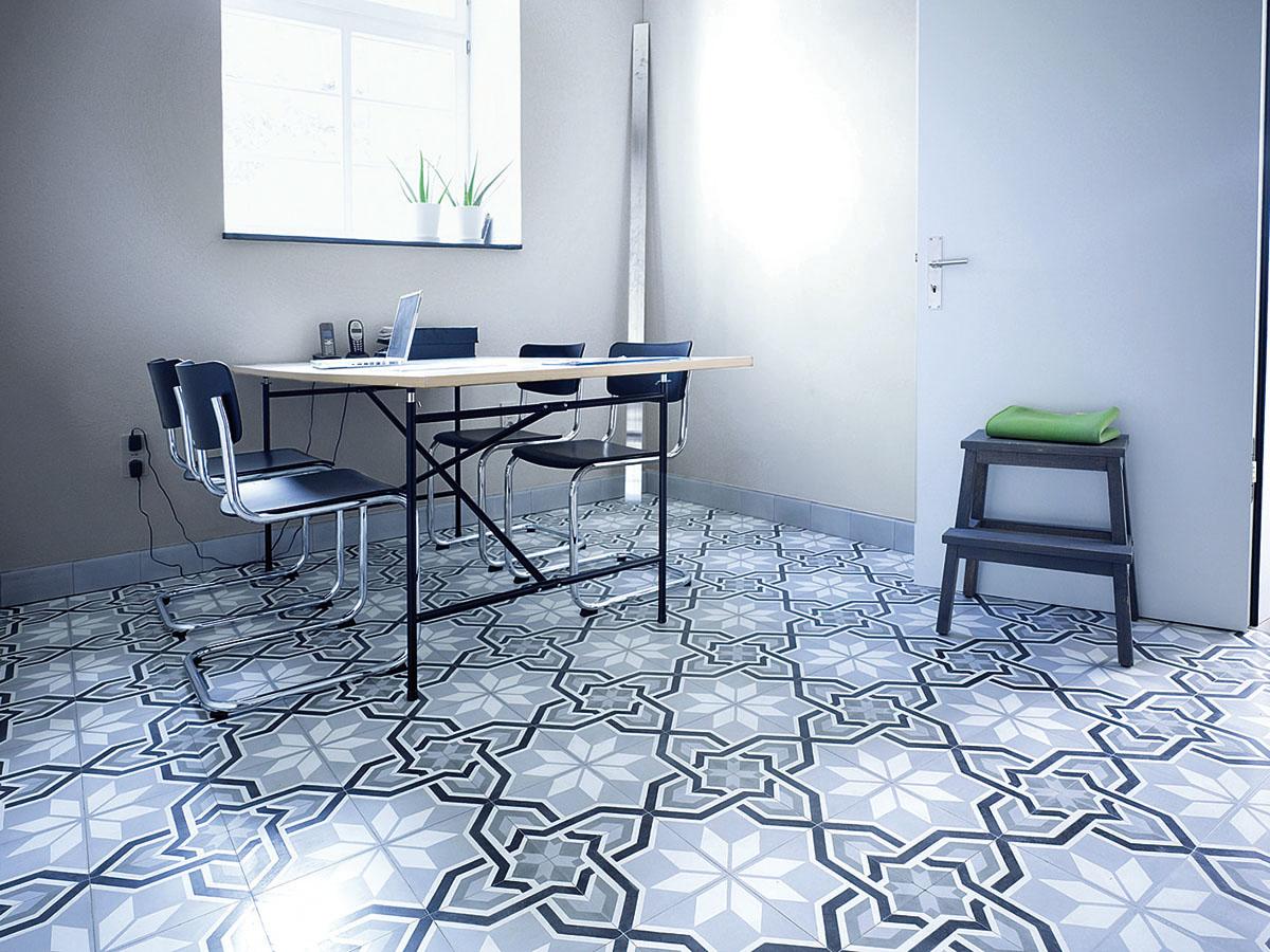 cement floor tile with framed star
