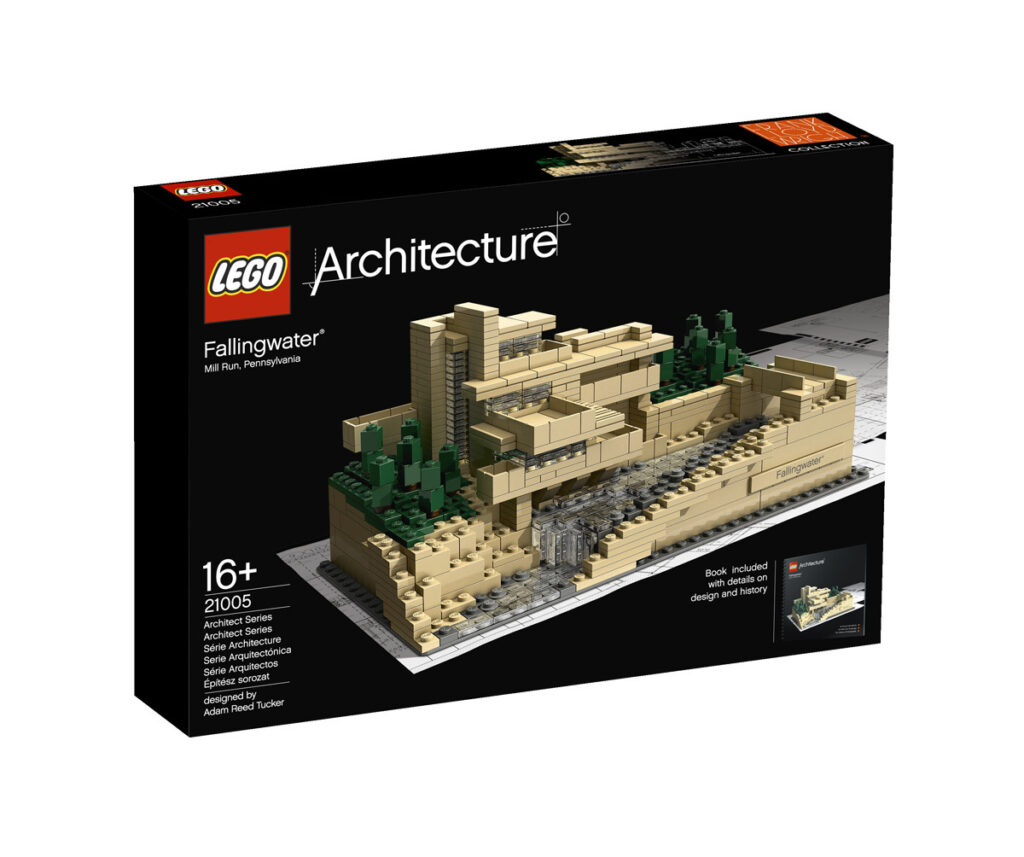Boite de la Fallingwater de Frank Lloyd Wright à Mill Run, Pennsylvanie, États-Unis - Artiste : Adam Reed Tucker - Collection : LEGO Architecture