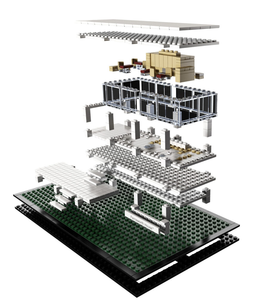 Eclaté de la Farnsworth House de Ludwig Mies van der Rohe à Plano, Kendall County, Illinois, États-Unis - Artiste : Adam Reed Tucker - Collection : LEGO Architecture