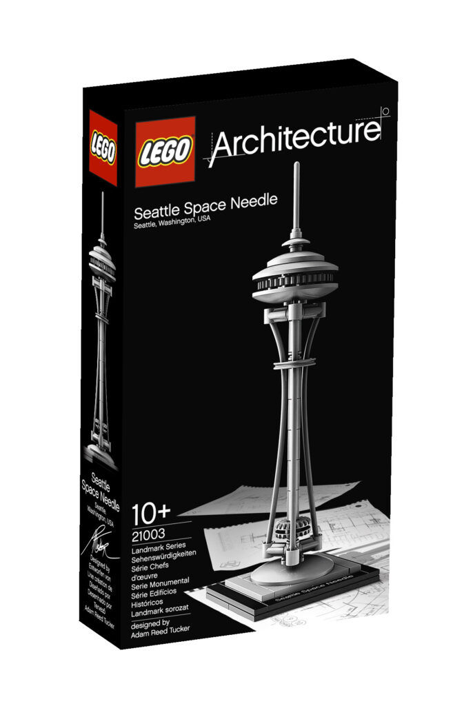 Boite de la tour Seattle Space Needle de Edward E. Carlson et John Graham à Seattle, Washington, États-Unis - Artiste : Adam Reed Tucker - Collection : LEGO Architecture