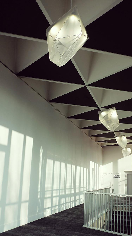 Promenoir 2015 - Lustres polyèdre en enfilade - Théâtre Novarina, Thonon-les-Bains, France © C3 Cube, Gaspard Lautrey