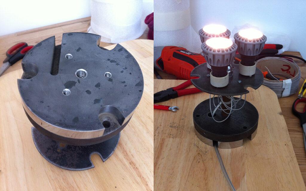 Base et lampes LED, La gloriette - Design et photo : RICH