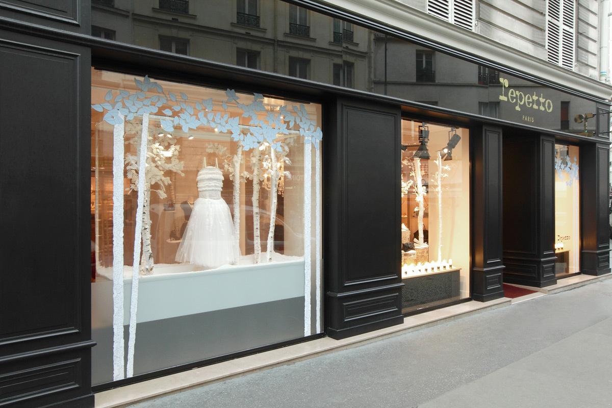 Repetto, 20, rue de Charonne, Paris - vue extérieure de la vitrine