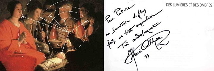 Georges de La Tour, L'adoration des bergers, dans livre Des lumières et des ombres de Henri Alekan, dédicace à Patrice, 1997