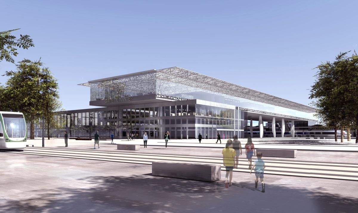 Gare de Nantes - Parvis Nord - Architectes : Rudy Ricciotti et Forma6 - Image : Ricciotti / Forma6 / Demathieu et Bard