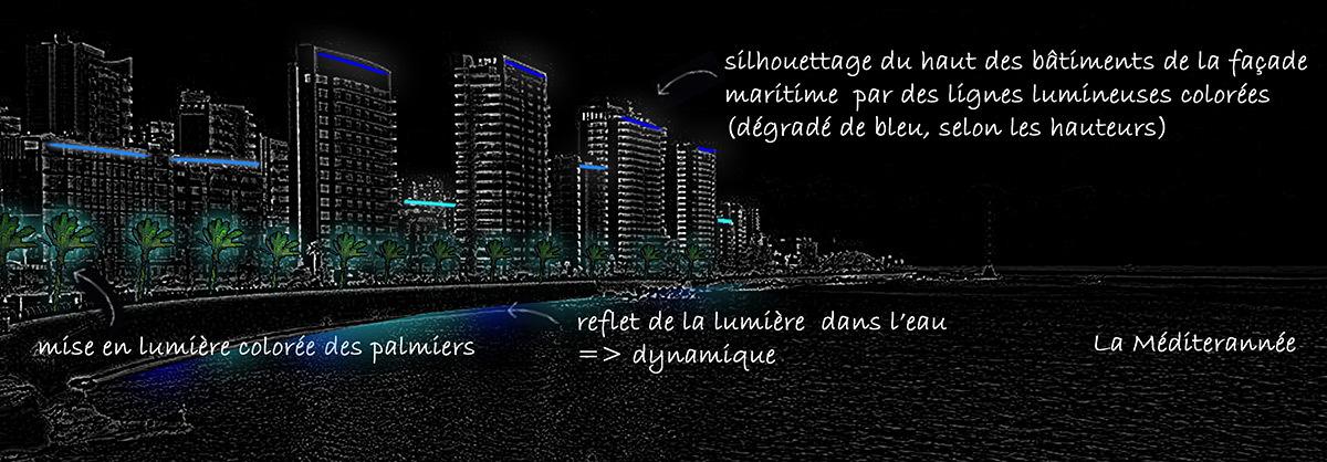 Concept des nouvelles ambiances lumineuses de Beyrouth