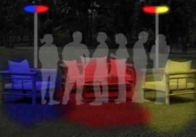 Installation spontanée sous la lumière de projecteurs de couleurs - Infographie © Jean-Baptiste Guerlesquin