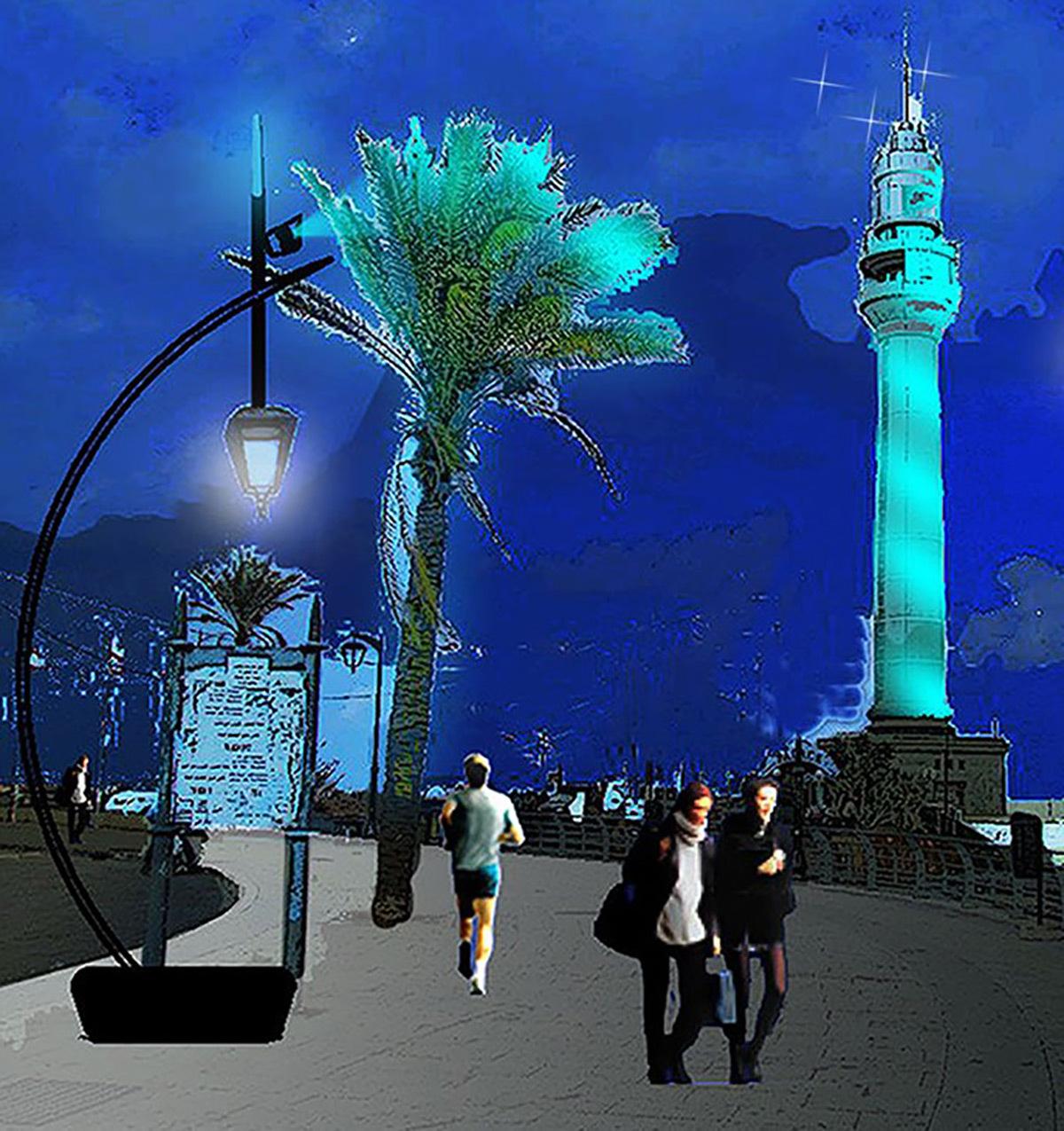 Phare et corniche maritime, Beyrouth, Liban - Thèse Ms Eclairage Urbain - INSA de Lyon © Nour Moussawi