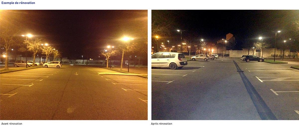 Eclairage public - parking avant-apres rénovation - Ville d'Orange - CCPRO © Samuel Casse