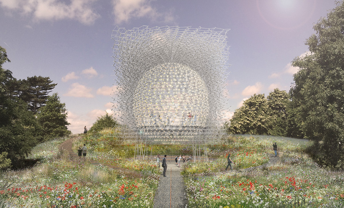 Render of The Hive at Kew Gardens by day - Artiste Wolfgang Buttress