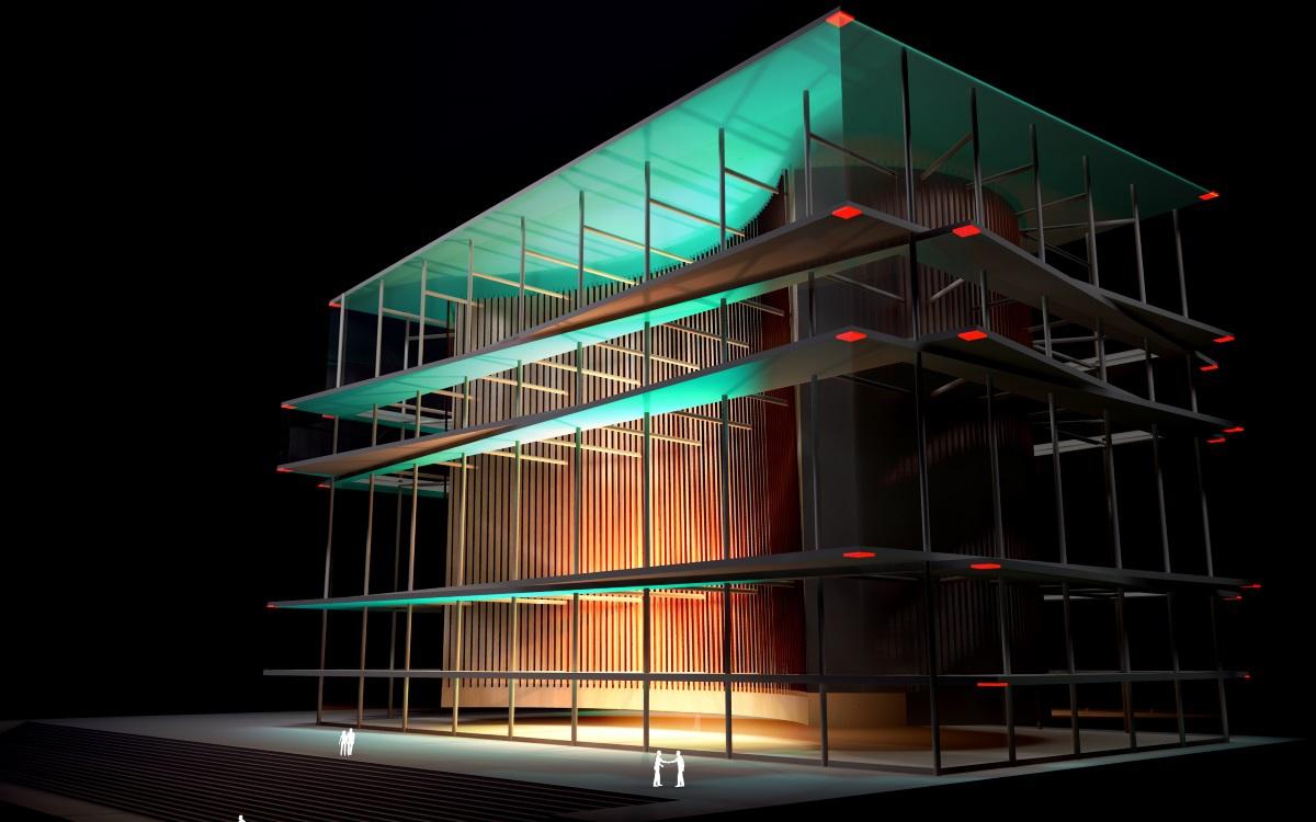 ForteBank, Astana, Kazakhstan - Simulation du concept lumineux depuis l'atrium et les angles - Conception lumière et image : Alexandre Kolinka