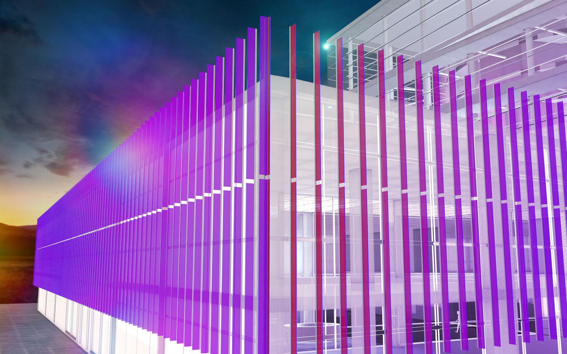ForteBank, Astana, Kazakhstan - Système des lamelles de verre - Conception et image : Alexandre Kolinka